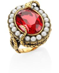 Alexander McQueen - Swarovski Crystal & Faux Pearl Snake Ring - Lyst