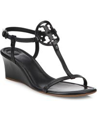 Tory Burch - Miller Leather Wedge Sandals - Lyst