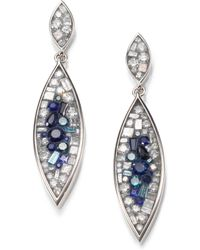 Plevé - Blue Burst Diamond, Sapphire & 18k White Gold Marquis Drop Earrings - Lyst