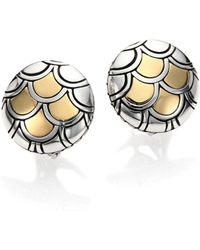 John Hardy - Naga 18k Yellow Gold & Sterling Silver Button Earrings - Lyst