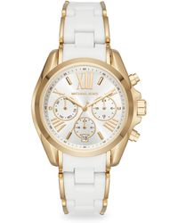 Michael Kors - Bradshaw Goldtone Silicone And Stainless Steel Chronograph Watch - Lyst