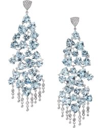 Hueb - 18k White Gold, Aquamarine & Diamond Chandelier Earrings - Lyst