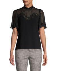 Rebecca Taylor - Lace Crepe Top - Lyst