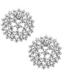 Adriana Orsini - Leia Crystal & Rhodium-plated Button Earrings - Lyst