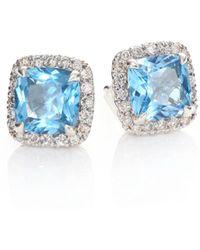 John Hardy - Classic Chain Diamond & Blue Topaz Stud Earrings - Lyst