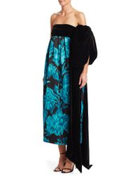 Marc Jacobs - Strapless Carnation-print Trapeze Evening Gown W/ Velvet Bow - Lyst
