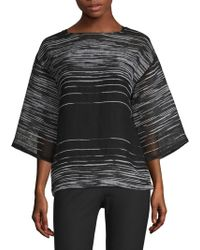 Eileen Fisher - Illusion Organic Linen Cotton Three-quarter Sleeve Top - Lyst