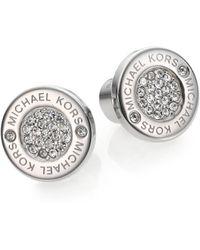 Michael Kors - Heritage Plaque Pave Logo Stud Earrings/silvertone - Lyst