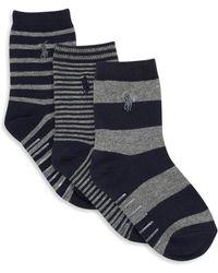 Ralph Lauren - Boy's Three-pack Stripe Trouser Sock Set - Lyst