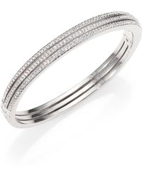Adriana Orsini - Pave Crystal Three-row Bangle Bracelet/silvertone - Lyst