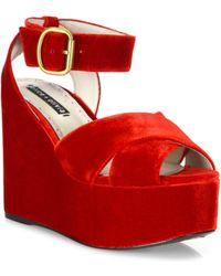 Alice + Olivia | Violet Velvet Platform Sandals | Lyst