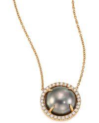 Jordan Alexander - 10mm Grey Tahitian Freshwater Pearl, Diamond & 18k Yellow Gold Pendant Necklace - Lyst
