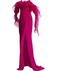 675fcb1f Marchesa - Off-the-shoulder Ruffle Draped Column Gown - Lyst