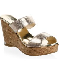 Jimmy Choo - Parker Leather Wedge Sandals - Lyst