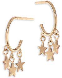 Zoe Chicco - Tiny Stars 14k Yellow Gold Hoop Earrings - Lyst