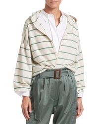 Brunello Cucinelli - Virgin Wool & Cashmere Stripe Zip Hoodie - Lyst