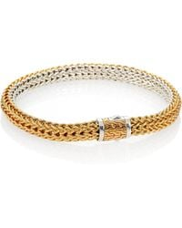 John Hardy | Classic Chain 18k Yellow Gold & Sterling Silver Small Reversible Bracelet | Lyst