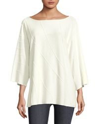 Lafayette 148 New York - Wave Stitched Quarter-sleeve Jumper - Lyst