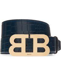 Bally - Mirror B Embossed Leather Belt - Lyst