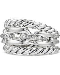 David Yurman - Wellesley Link Pavé Diamonds & Sterling Silver Three-row Ring - Lyst