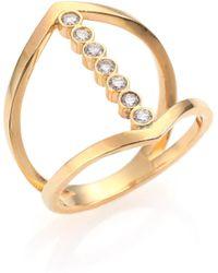 Zoe Chicco - Diamond & 14k Yellow Gold Cross Ring - Lyst