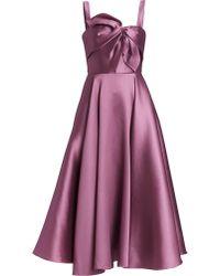 Marchesa notte Bow Detail Midi Cocktail Dress - Purple