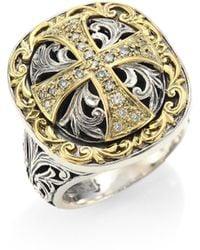 Konstantino - Diamond Cross Silver & 18k Gold Ring - Lyst