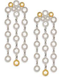 Coomi - Opera Diamond, Crystal, 20k Yellow Gold & Sterling Silver Chandelier Earrings - Lyst