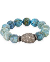Bavna - Pave Diamond Agate Bead Bracelet - Lyst