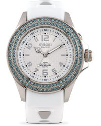 Kyboe - Radiant Clarity Swarovski Crystal And Silicone Strap Watch - Lyst