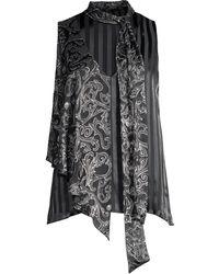 Alice + Olivia - Women's Fifi Asymmetric Graphic & Stripe Blouse - Fleurdamask Black - Size Small - Lyst
