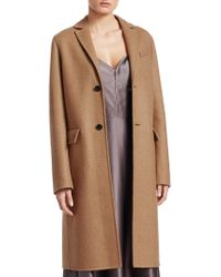 Dior - Single-breasted Camel Wool Coat - Lyst
