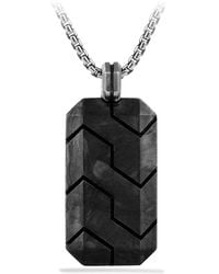 David Yurman - Forged Carbon Black Diamonds And Sterling Silver Tag - Lyst