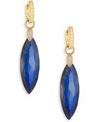 Jude Frances - Lisse Diamond, Labradorite & Black Onyx Doublet Elongated Earring Charms - Lyst