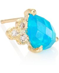 Jacquie Aiche - Diamond, Blue Opal & 14k Yellow Gold Teardrop Single Stud Earring - Lyst