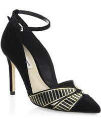 L.K.Bennett - Open Court Velvet Ankle-strap Court Shoes - Lyst