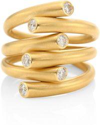 Carelle - Whirl Diamond & 18k Yellow Gold Ring - Lyst