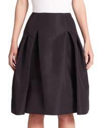 Carolina Herrera - Icon Collection Silk Faille Pleated Skirt - Lyst
