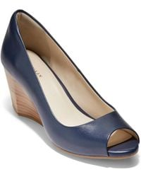 Cole Haan - Sadie Open Toe Leather Wedge Court Shoes - Lyst