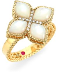 Roberto Coin - Venetian Princess 18k Yellow Gold, Mother-of-pearl & Diamond Ring - Lyst