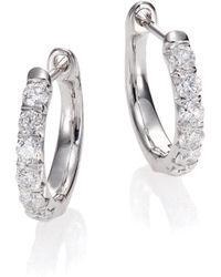 Jude Frances - Jude Diamond & 18k White Gold Huggie Hoop Earrings/0.5 - Lyst