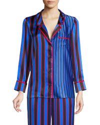 Alice + Olivia - Keir Striped Silk Pyjama Top - Lyst