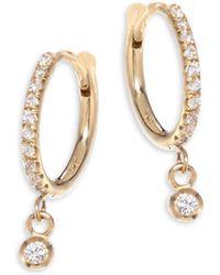 Zoe Chicco - Diamond & 14k Yellow Gold Huggie Hoop Earrings - Lyst