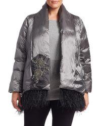 Marina Rinaldi - Parco Feather-trimmed Embellished Jacket - Lyst