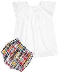 Ralph Lauren - Baby Girl's Two-piece Flutter Sleeve Top & Madras Shorts Set - Lyst