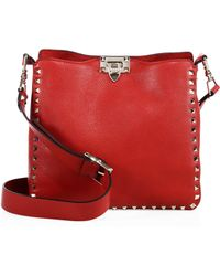 Valentino - Small Rockstud Leather Hobo Bag - Lyst