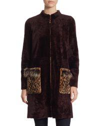 Saks Fifth Avenue - Shearling Fur Coat - Lyst