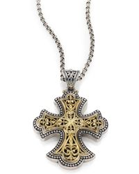 Konstantino - Classic 18k Yellow Gold & Sterling Silver Flared Filigree Pendant - Lyst