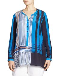 NIC+ZOE - Plus Striped Long-sleeve Blouse - Lyst