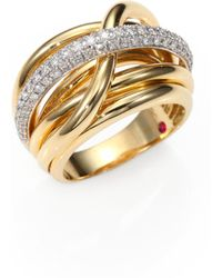 Roberto Coin - Classica Diamond & 18k Yellow Gold Crossover Ring - Lyst